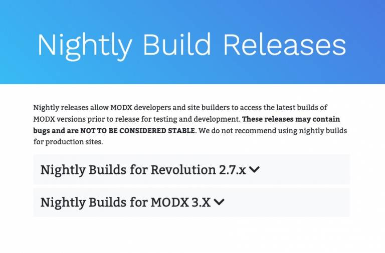Nightly builds are back for MODX 2.7 and MODX 3.x